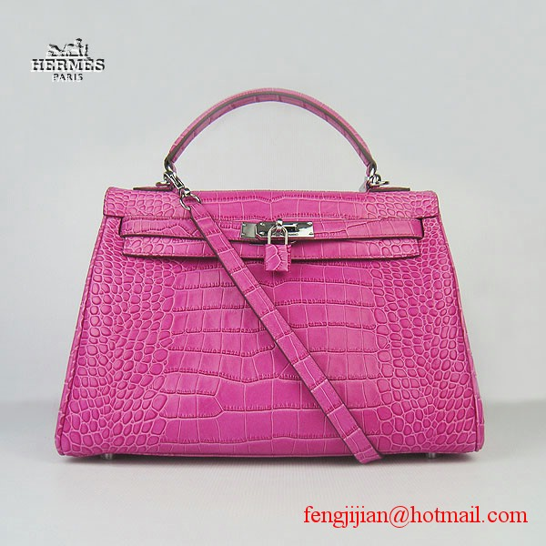 Hermes Kelly 32cm Crocodile Veins Leather Bag Peachblow 6108 Silver Hardware