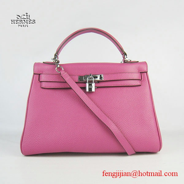 Hermes Kelly 32cm Togo Leather Bag Peachblow 6108 Silver Hardware
