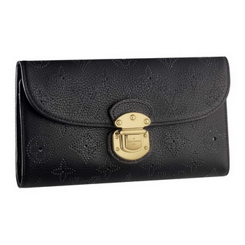 Louis Vuitton M58074 Mahina Leather Amelia Wallet Noir AR