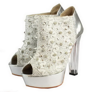 Christian Louboutin Bridget Back Ankle Boots Silver