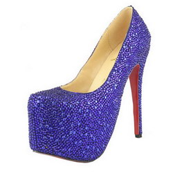Christian Louboutin Daffodile 160mm Glitter Pumps Suede Blue