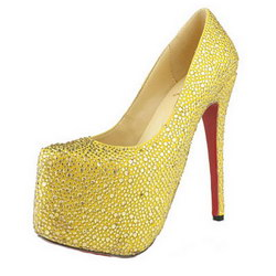 Christian Louboutin Daffodile 160mm Glitter Pumps Suede Golden