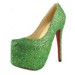 Christian Louboutin Daffodile 160mm Glitter Pumps Suede Green