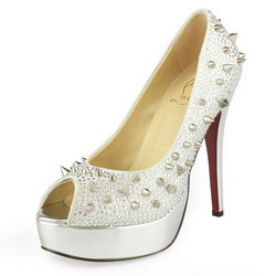 Christian Louboutin Lady 130 Peep Toe Spikes Pumps White Satin