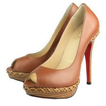 Christian Louboutin Peep Toe Pump Sheepskin Brown