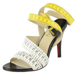 Christian Louboutin Police 90mm Sandals Yellow and White