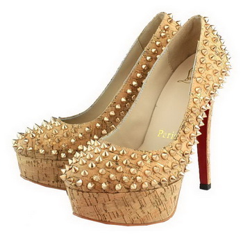 Christian Louboutin Spike Wood Grain Platform Pump Brown