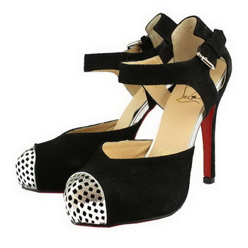 Christian Louboutin Suede Leather Cap Toe Sandals Black