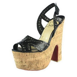 Christian Louboutin Super Dombasles Wooden Chunky Heel Sandals Black