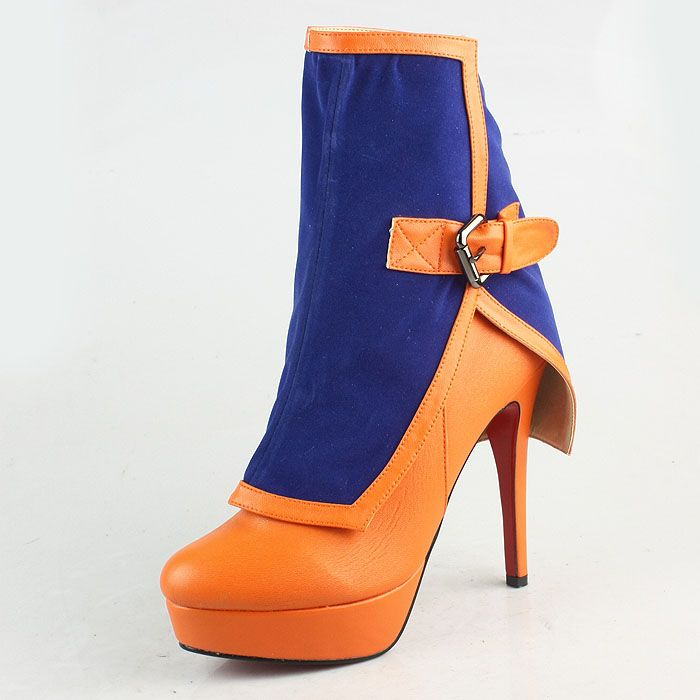 Christian Louboutin Blue-Orange Leather Dual Purpose Ankle Boots