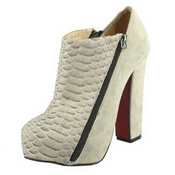 Christian Louboutin 4A Python Suede Platform Bootie Grey