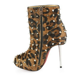 Christian Louboutin Big Lips 90 Spike Ankle Boot Leopard
