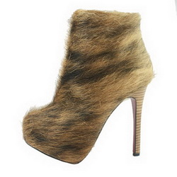 Christian Louboutin Horsehair Ankle Bootie Chestnut