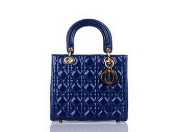 Christian Dior Blue Patent Leather Mini Lady Dior Bag Gold