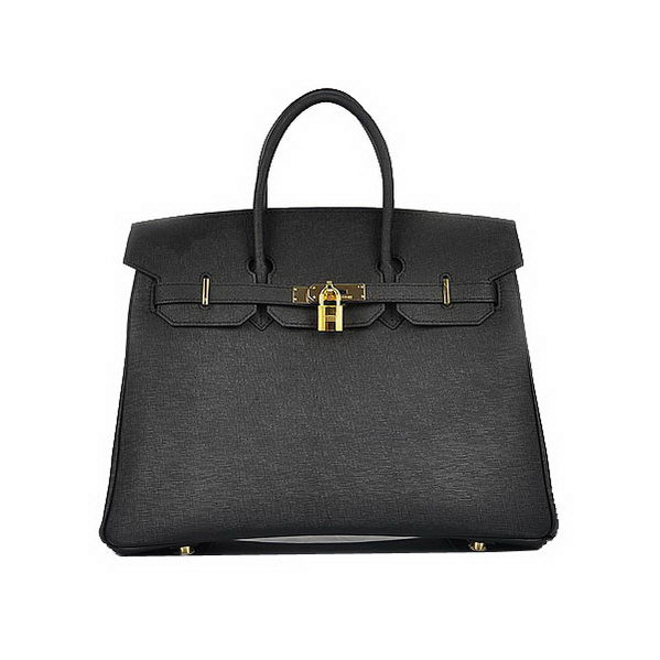Hot Sell Hermes Birkin 35CM Black Saffiano Leather Tote Bag Gold
