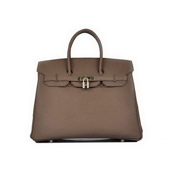 Hot Style Hermes Birkin 35CM Brown Saffiano Leather Tote Bag Gold