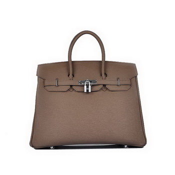 Hot Style Hermes Birkin 35CM Brown Saffiano Leather Tote Bag Silver