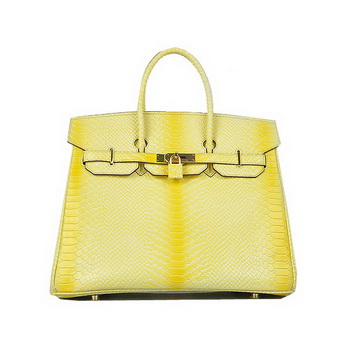 Hermes Birkin 35CM Lemon Snake Leather Tote Bag Gold