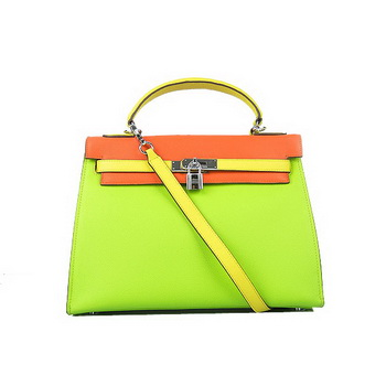 Hermes Kelly 32CM Bags Calf Leather Green-Orange-Yellow Silver