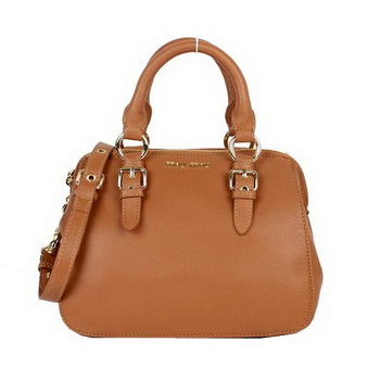 miu miu Grainy Madras Goat Leather Top-Handle Bag RL0058 Brown