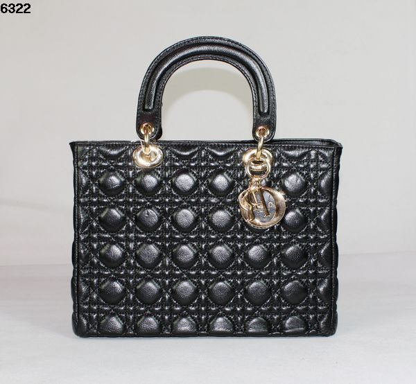 Christian Lady Dior Black Lambskin Bag 6322 Gold