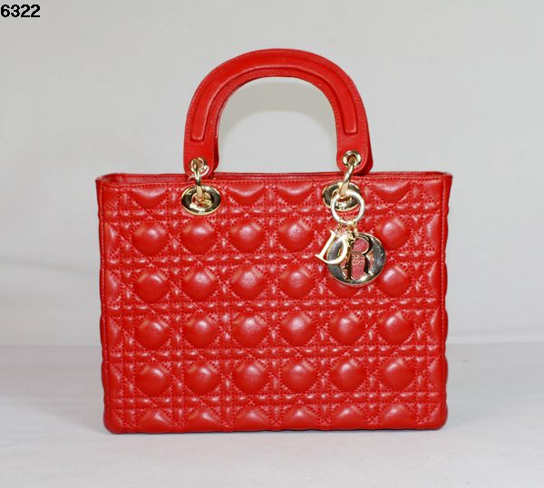 Christian Lady Dior Red Lambskin Bag 6322 Gold