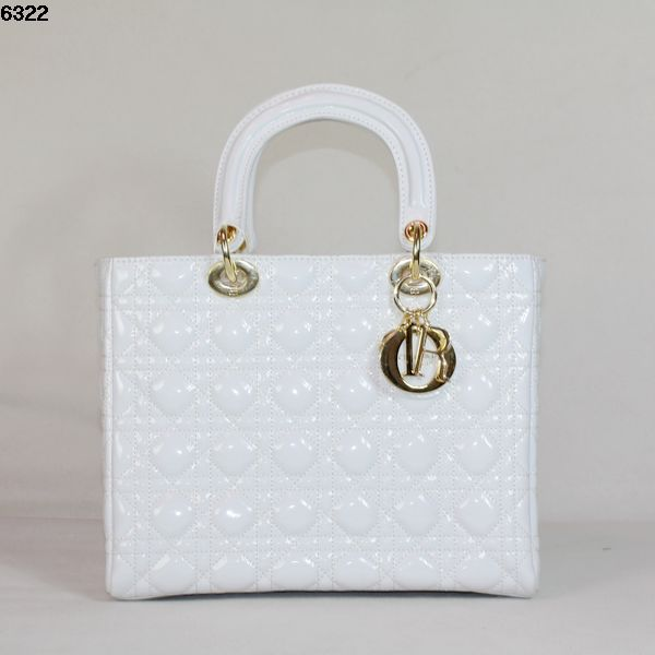 Christian Lady Dior White Patent Leather Bag 6322 Gold