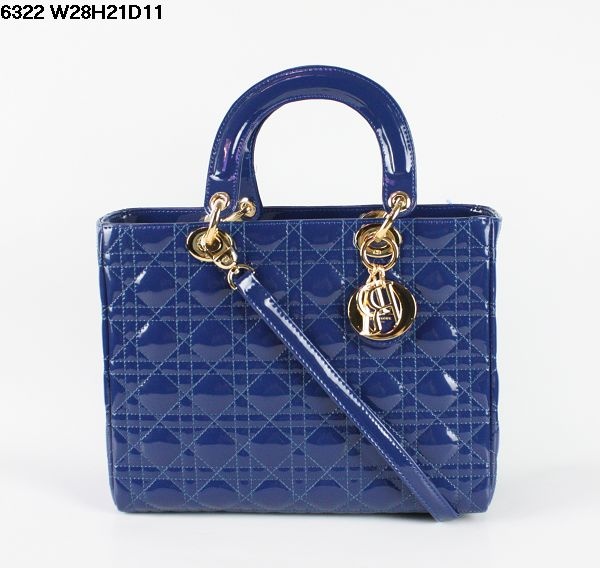 Christian Lady Dior Blue Patent Leather Bag 6322 Gold