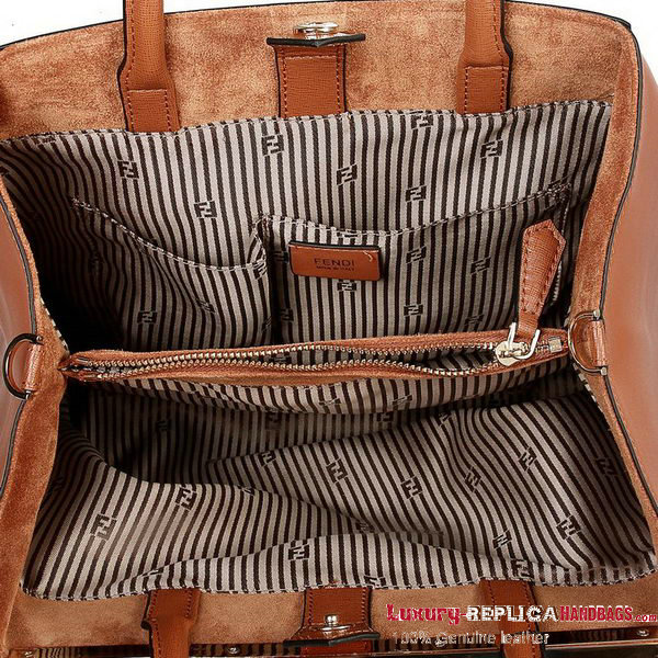 Hot Sell Fendi 2Jours Original Leather Tote Bag F2552M Brown
