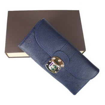 Louis Vuitton Mahina Leather Iris Wallet M58135 Blue