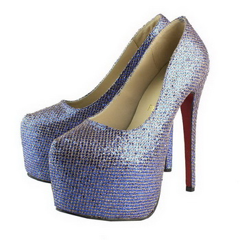 Christian Louboutin Daffodile 160mm Snake Leather Platform Pump Blue&Gold