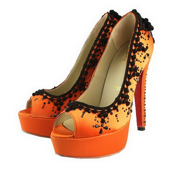 Christian Louboutin Suede&Satin Leather Peep Toe Pump Orange