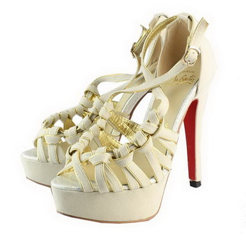 Christian Louboutin Suede Leather Sandals CL1093 Offwhite