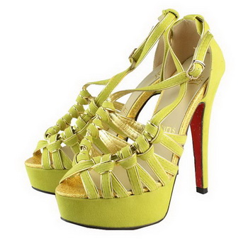 Christian Louboutin Suede Leather Sandals CL1093 Yellow