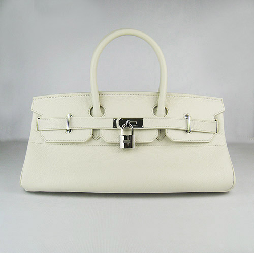 Hermes Birkin 6109 Togo Leather Bag Beige 42cm Silver