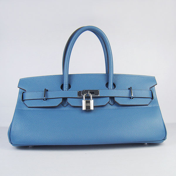 Hermes Birkin 6109 Togo Leather Bag Blue 42cm Silver