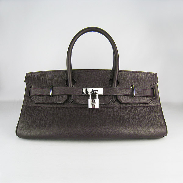Hermes Birkin 6109 Togo Leather Bag Dark Coffee 42cm Silver