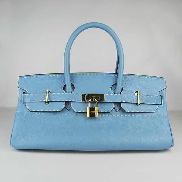 Hermes Birkin 6109 Togo Leather Bag Light Blue 42cm Gold