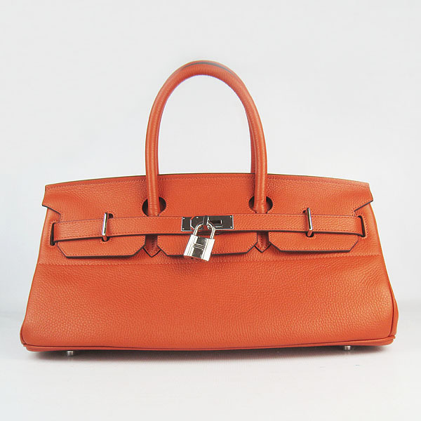 Hermes Birkin 6109 Togo Leather Bag Orange 42cm Silver