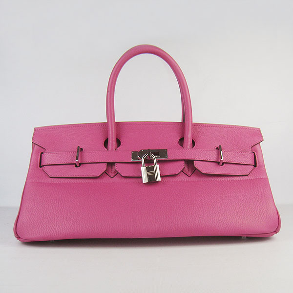Hermes Birkin 6109 Togo Leather Bag Peachblow 42cm Silver