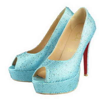 Christian Louboutin Lady Peep Ring Strass 130mm Pump Blue
