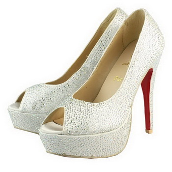 Christian Louboutin Lady Peep Ring Strass 130mm Pump White