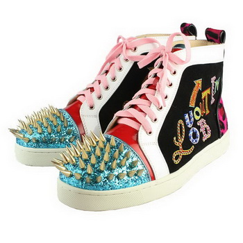 Christian Louboutin Suede Gold Spike Sneaker Multicolour