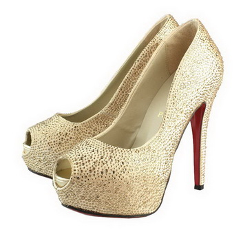Christian Louboutin Very Riche Strass 130mm Pump Gold