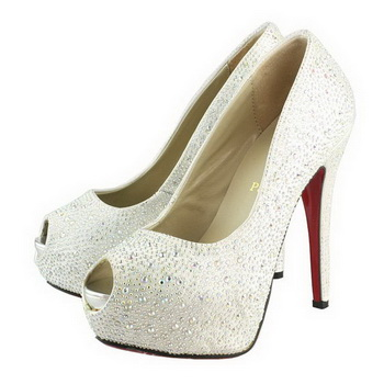Christian Louboutin Very Riche Strass 130mm Pump White