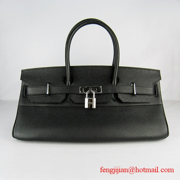 Hermes Birkin 42cm Togo Leather Bag 6109 Black silver padlock