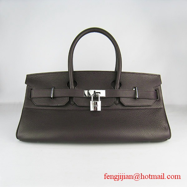 Hermes Birkin 42cm Togo Leather Bag 6109 Dark Coffee silver padlock