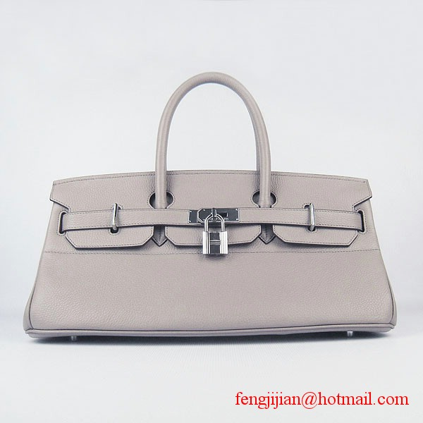 Hermes Birkin 42cm Togo Leather Bag 6109 Grey silver padlock