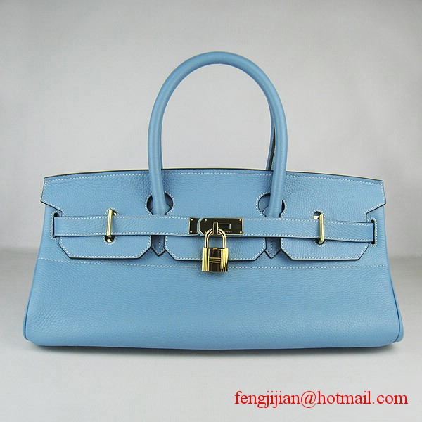 Hermes Birkin 42cm Togo Leather Bag 6109 Light Blue gold padlock