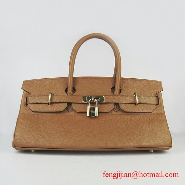 Hermes Birkin 42cm Togo Leather Bag 6109 Light Coffee gold padlock